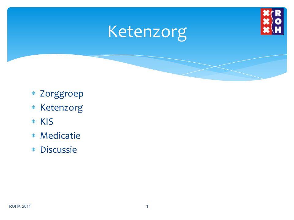  Ontwikkeling sinds 2005  Monodisciplinaire structuren, regie bij huisarts  Samenwerking in 1 e en met 2 e lijn  Organisatie rondom chronische zorg (in ketens)  ROHA in 2007 opgericht, in 2010 met ketenzorg gestart, 2011 DM2 en COPD, 2012-13 VRM Zorggroep ROHA 20112