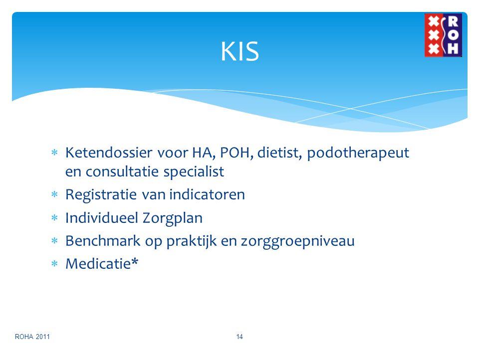  Ketendossier voor HA, POH, dietist, podotherapeut en consultatie specialist  Registratie van indicatoren  Individueel Zorgplan  Benchmark op prak