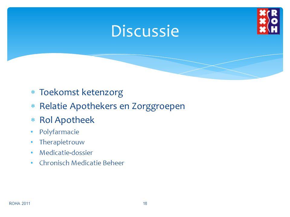  Toekomst ketenzorg  Relatie Apothekers en Zorggroepen  Rol Apotheek Polyfarmacie Therapietrouw Medicatie-dossier Chronisch Medicatie Beheer Discus
