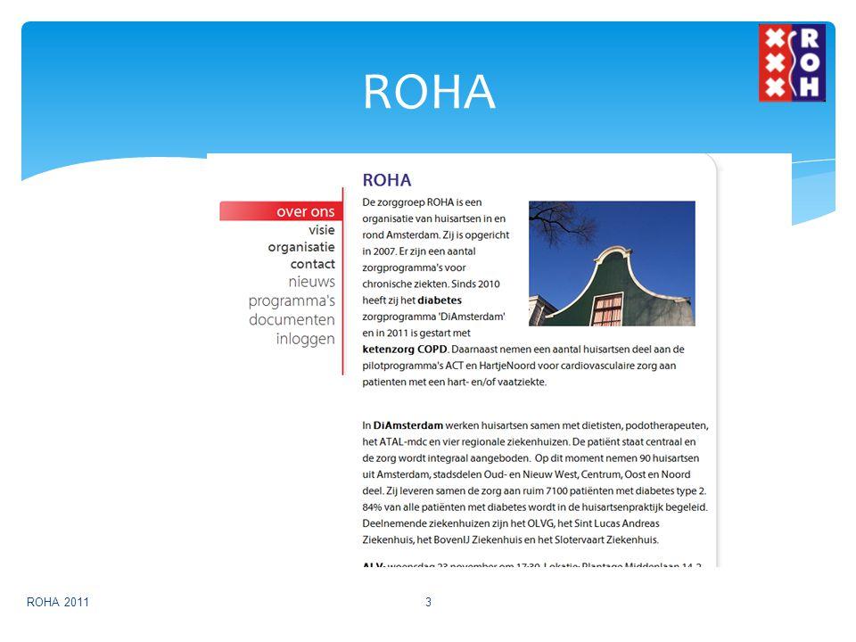  96 HA in Amsterdam, 17 HA in Noord  170.000 patiënten  7000 DM2  700 COPD  22 diëtisten  4 internisten  7 podotherapeuten ROHA ROHA 20114