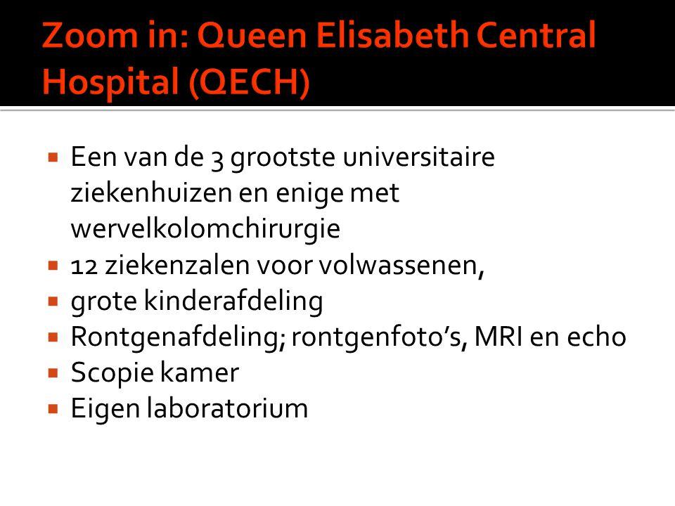  Een van de 3 grootste universitaire ziekenhuizen en enige met wervelkolomchirurgie  12 ziekenzalen voor volwassenen,  grote kinderafdeling  Rontgenafdeling; rontgenfoto's, MRI en echo  Scopie kamer  Eigen laboratorium