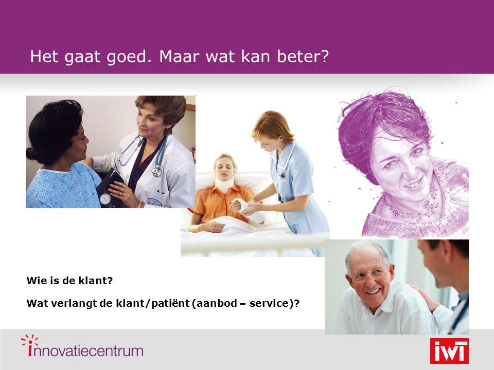 Het gaat goed. Maar wat kan beter? Wie is de klant? Wat verlangt de klant/patiënt (aanbod – service)?
