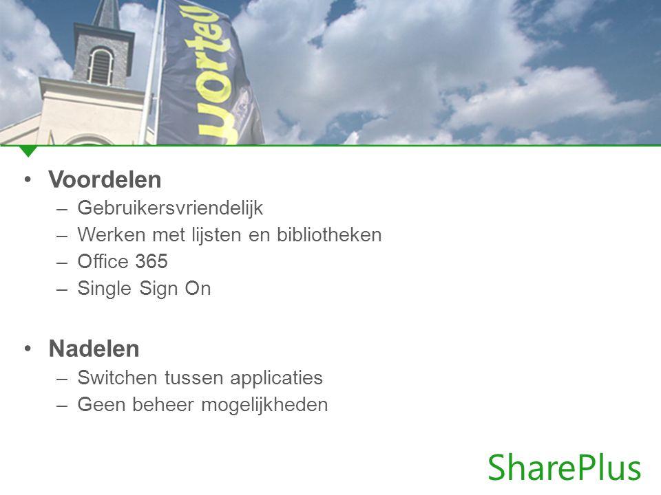 SharePlus Voordelen –Gebruikersvriendelijk –Werken met lijsten en bibliotheken –Office 365 –Single Sign On Nadelen –Switchen tussen applicaties –Geen