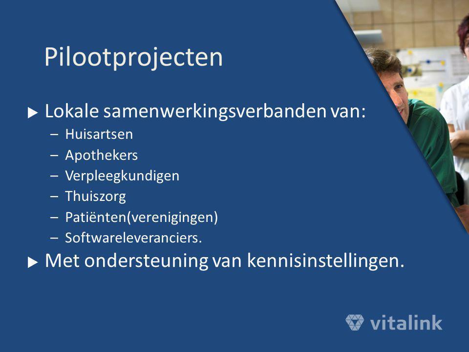  Lokale samenwerkingsverbanden van: –Huisartsen –Apothekers –Verpleegkundigen –Thuiszorg –Patiënten(verenigingen) –Softwareleveranciers.  Met onders