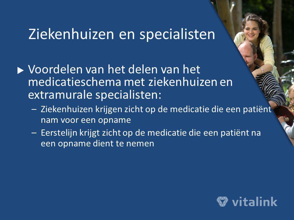  Voordelen van het delen van het medicatieschema met ziekenhuizen en extramurale specialisten: –Ziekenhuizen krijgen zicht op de medicatie die een pa