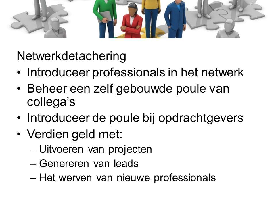 Netwerkdetachering Introduceer professionals in het netwerk Beheer een zelf gebouwde poule van collega's Introduceer de poule bij opdrachtgevers Verdien geld met: –Uitvoeren van projecten –Genereren van leads –Het werven van nieuwe professionals