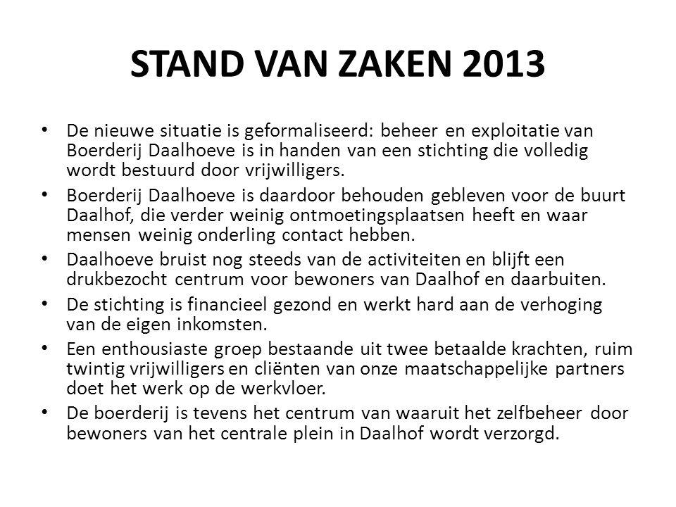 STAND VAN ZAKEN 2013 De nieuwe situatie is geformaliseerd: beheer en exploitatie van Boerderij Daalhoeve is in handen van een stichting die volledig w