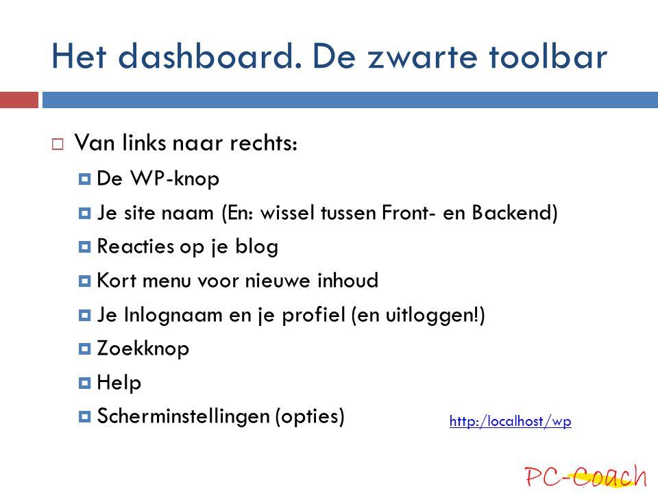 Het dashboard. De zwarte toolbar  Van links naar rechts:  De WP-knop  Je site naam (En: wissel tussen Front- en Backend)  Reacties op je blog  Ko