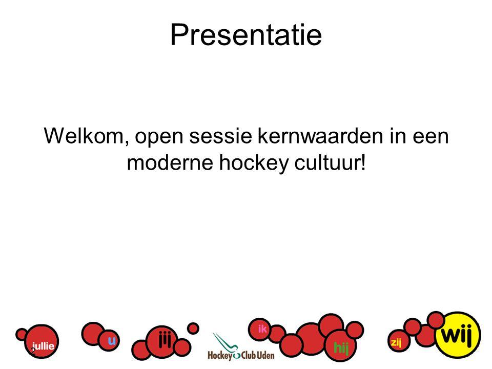 Presentatie Welkom, open sessie kernwaarden in een moderne hockey cultuur! 2