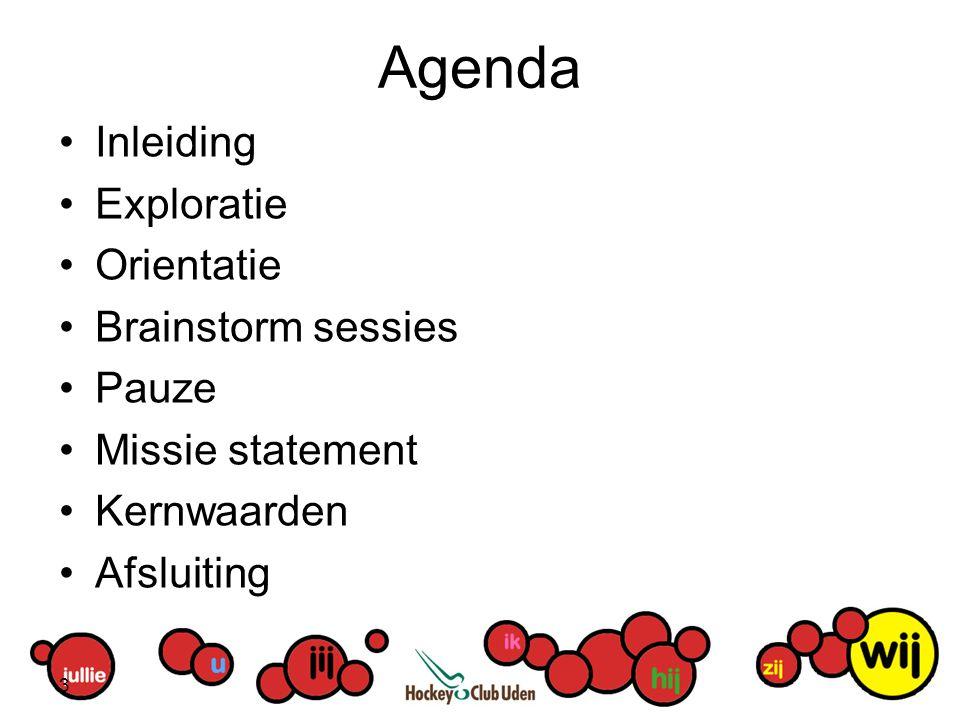 Agenda Inleiding Exploratie Orientatie Brainstorm sessies Pauze Missie statement Kernwaarden Afsluiting 3