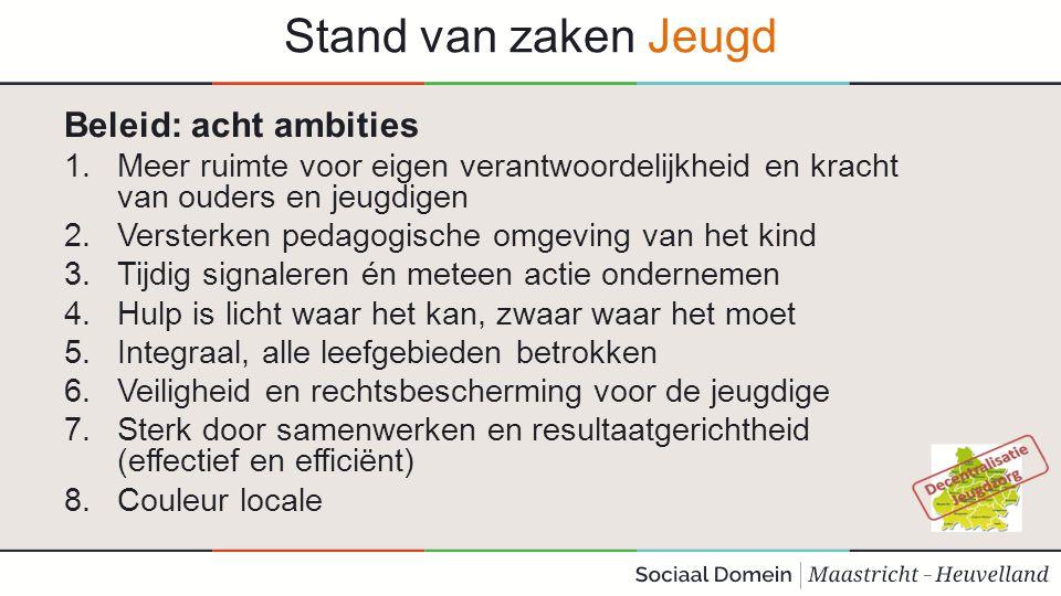 Stand van zaken Jeugd Beleid: acht ambities 1.Meer ruimte voor eigen verantwoordelijkheid en kracht van ouders en jeugdigen 2.Versterken pedagogische