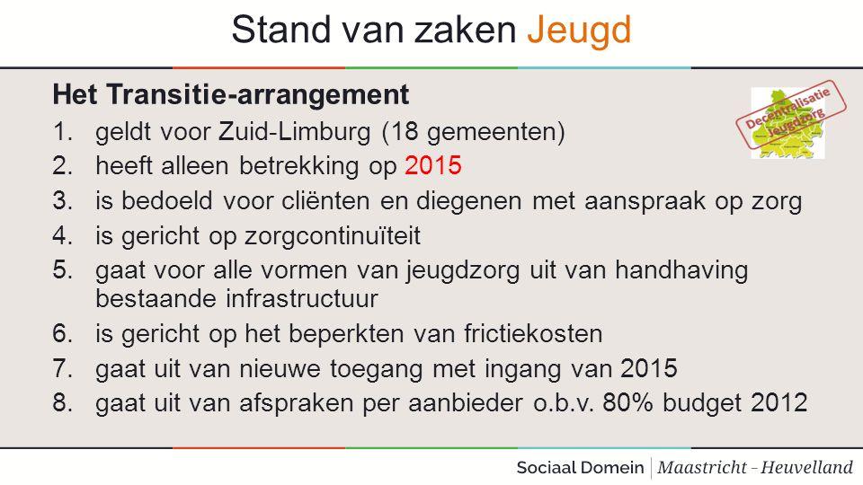 Stand van zaken Jeugd Het Transitie-arrangement 1.geldt voor Zuid-Limburg (18 gemeenten) 2.heeft alleen betrekking op 2015 3.is bedoeld voor cliënten