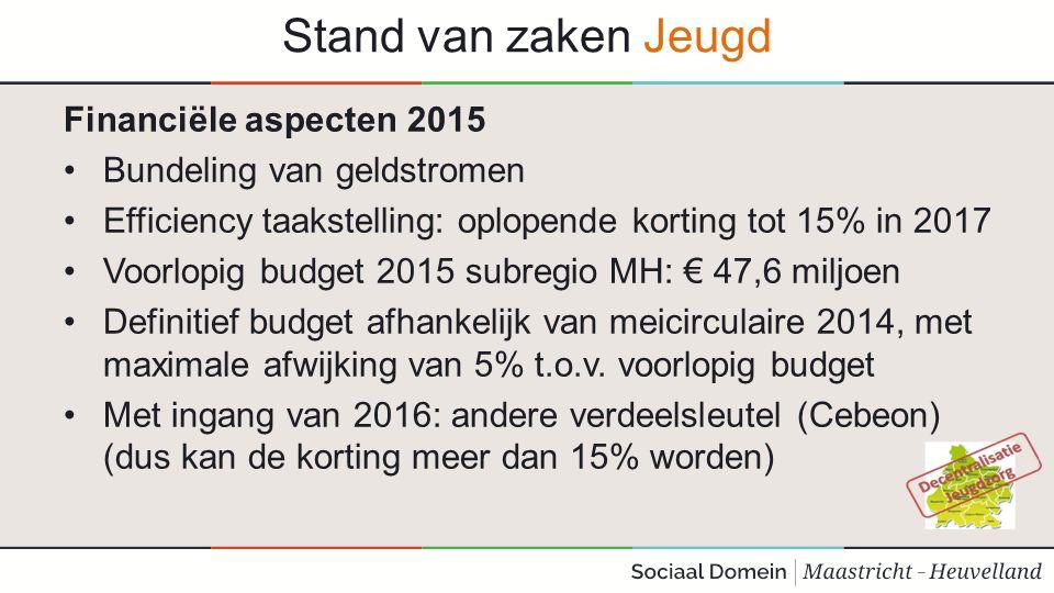 Stand van zaken Jeugd Financiële aspecten 2015 Bundeling van geldstromen Efficiency taakstelling: oplopende korting tot 15% in 2017 Voorlopig budget 2
