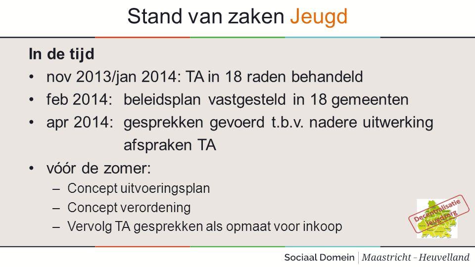 Stand van zaken Jeugd In de tijd nov 2013/jan 2014: TA in 18 raden behandeld feb 2014: beleidsplan vastgesteld in 18 gemeenten apr 2014: gesprekken ge