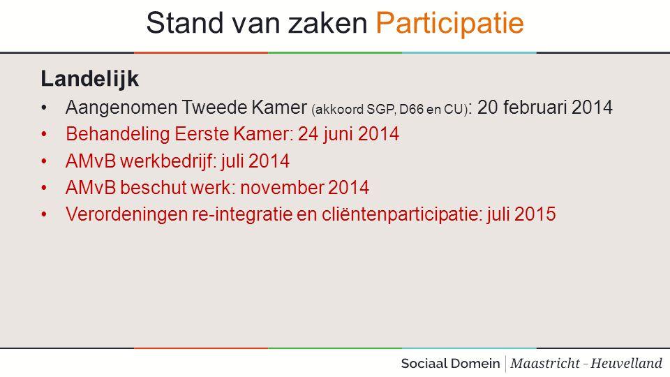Stand van zaken Participatie Landelijk Aangenomen Tweede Kamer (akkoord SGP, D66 en CU) : 20 februari 2014 Behandeling Eerste Kamer: 24 juni 2014 AMvB