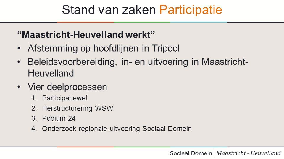 """Stand van zaken Participatie """"Maastricht-Heuvelland werkt"""" Afstemming op hoofdlijnen in Tripool Beleidsvoorbereiding, in- en uitvoering in Maastricht-"""