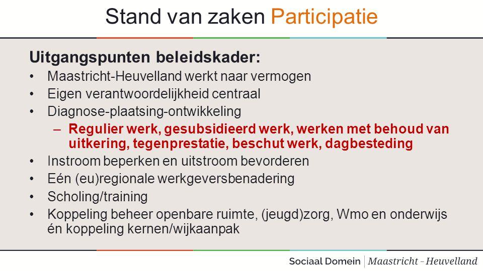 Stand van zaken Participatie Uitgangspunten beleidskader: Maastricht-Heuvelland werkt naar vermogen Eigen verantwoordelijkheid centraal Diagnose-plaat