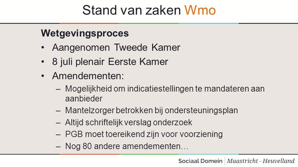Stand van zaken Wmo Wetgevingsproces Aangenomen Tweede Kamer 8 juli plenair Eerste Kamer Amendementen: –Mogelijkheid om indicatiestellingen te mandate