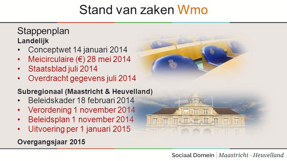 Stand van zaken Wmo Stappenplan Landelijk Conceptwet 14 januari 2014 Meicirculaire (€) 28 mei 2014 Staatsblad juli 2014 Overdracht gegevens juli 2014