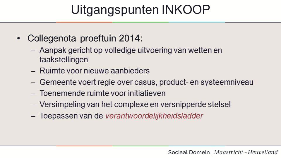 Uitgangspunten INKOOP Collegenota proeftuin 2014: –Aanpak gericht op volledige uitvoering van wetten en taakstellingen –Ruimte voor nieuwe aanbieders