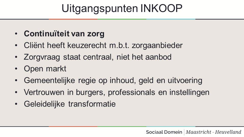 Uitgangspunten INKOOP Continuïteit van zorg Cliënt heeft keuzerecht m.b.t. zorgaanbieder Zorgvraag staat centraal, niet het aanbod Open markt Gemeente