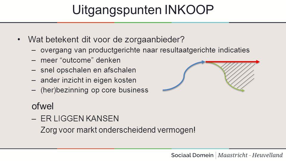 """Uitgangspunten INKOOP Wat betekent dit voor de zorgaanbieder? –overgang van productgerichte naar resultaatgerichte indicaties –meer """"outcome"""" denken –"""