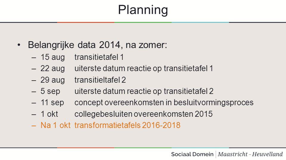 Planning Belangrijke data 2014, na zomer: –15 aug transitietafel 1 –22 aug uiterste datum reactie op transitietafel 1 –29 aug transitieltafel 2 –5 sep