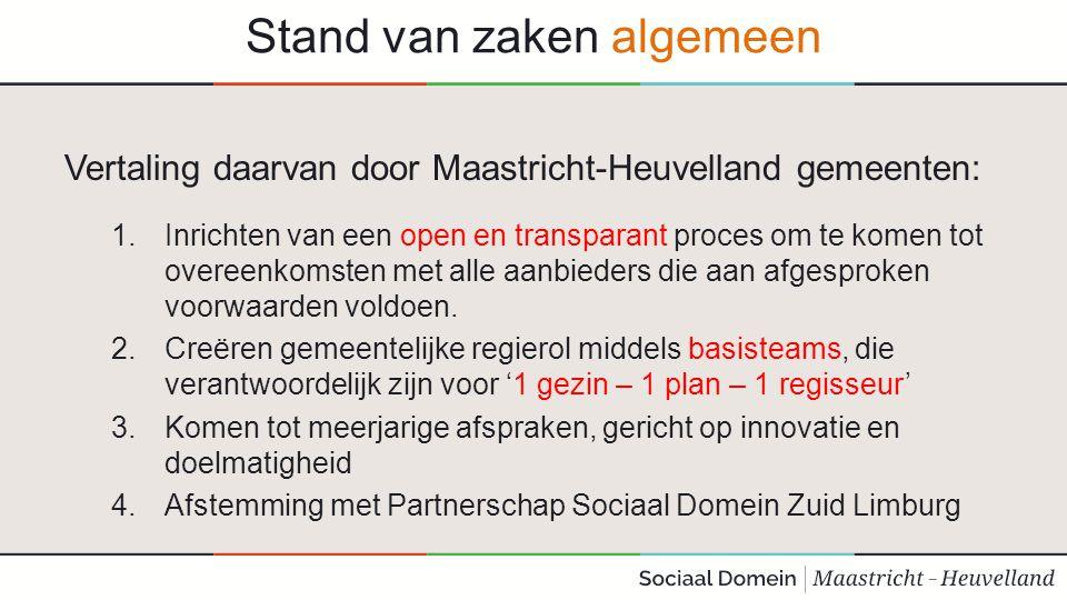 Stand van zaken algemeen Vertaling daarvan door Maastricht-Heuvelland gemeenten: 1.Inrichten van een open en transparant proces om te komen tot overee