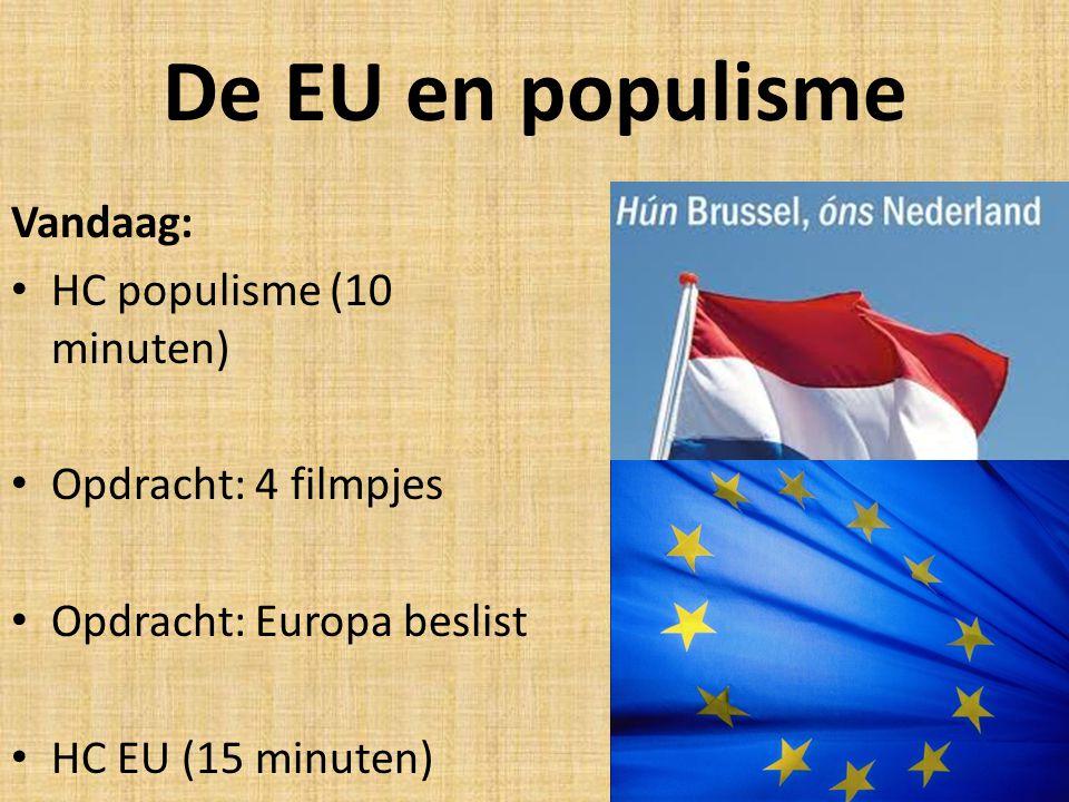 De EU en populisme Vandaag: HC populisme (10 minuten) Opdracht: 4 filmpjes Opdracht: Europa beslist HC EU (15 minuten)