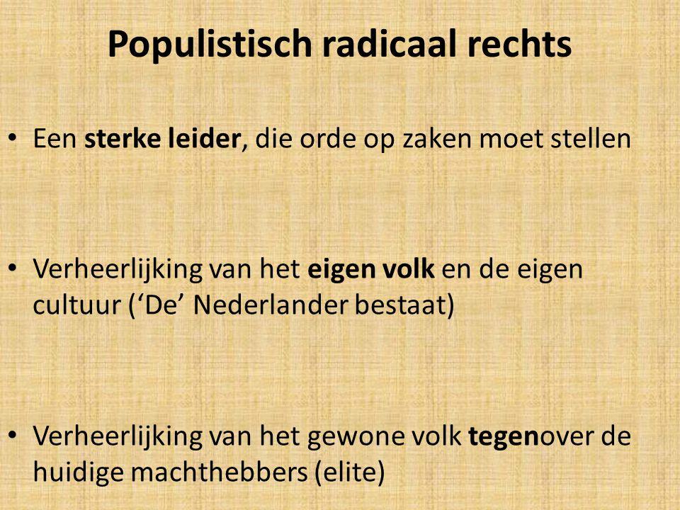 Populistisch radicaal rechts Een sterke leider, die orde op zaken moet stellen Verheerlijking van het eigen volk en de eigen cultuur ('De' Nederlander