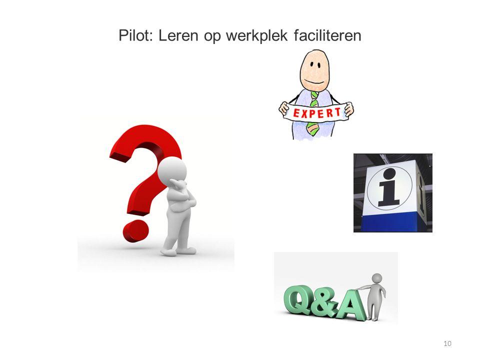 Pilot: Leren op werkplek faciliteren 10