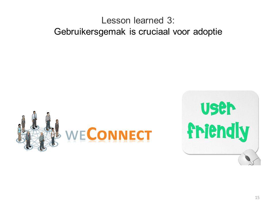 Lesson learned 3: Gebruikersgemak is cruciaal voor adoptie 15