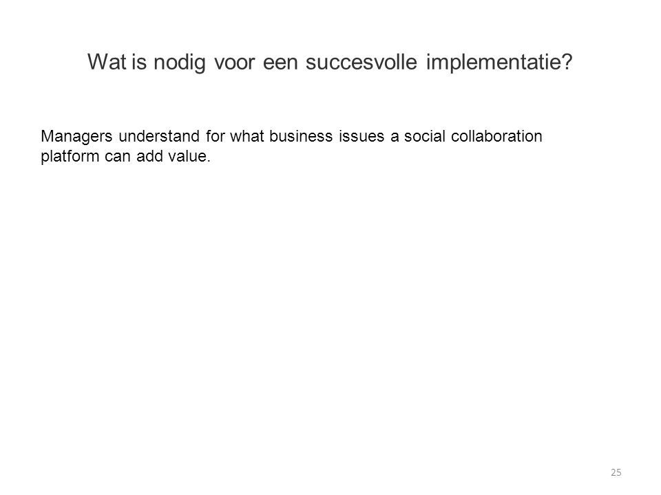 Wat is nodig voor een succesvolle implementatie? 25 Managers understand for what business issues a social collaboration platform can add value.