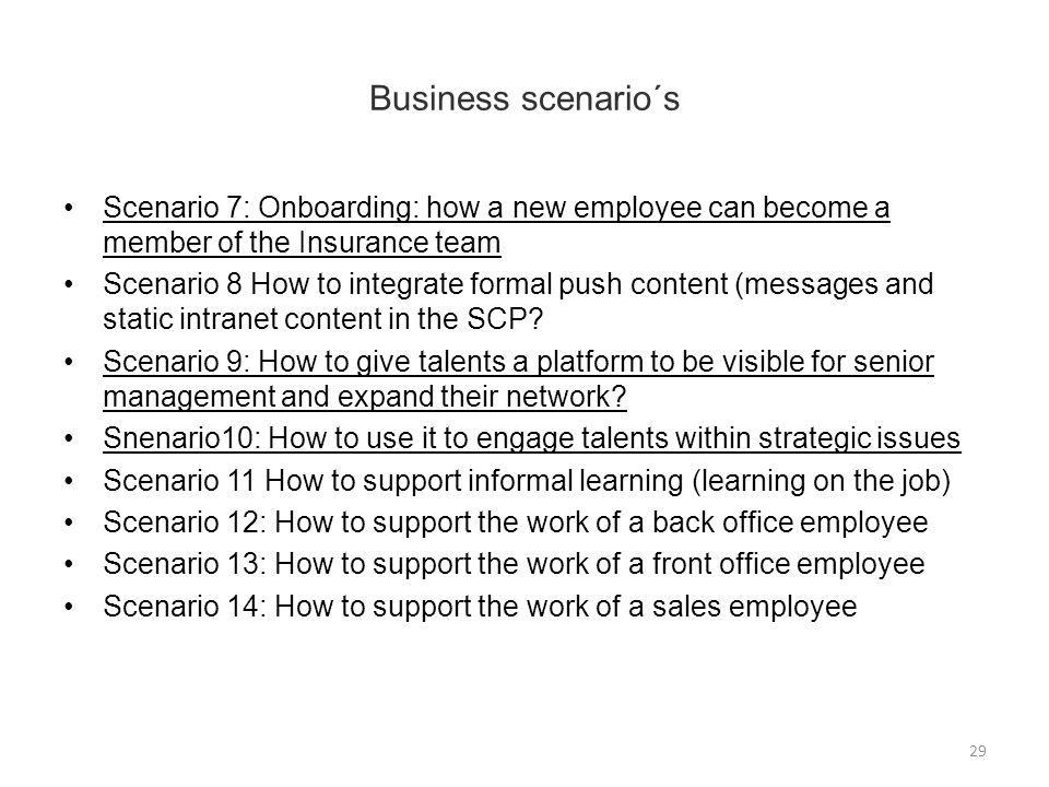Business scenario´s Scenario 7: Onboarding: how a new employee can become a member of the Insurance team Scenario 8 How to integrate formal push content (messages and static intranet content in the SCP.