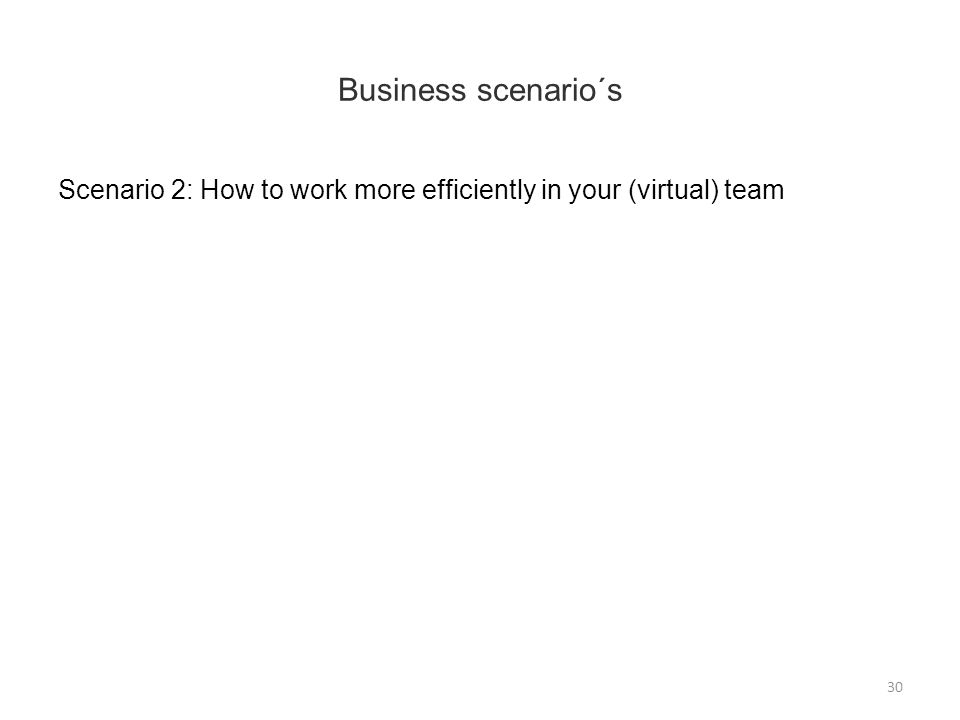 Business scenario´s Scenario 2: How to work more efficiently in your (virtual) team 30