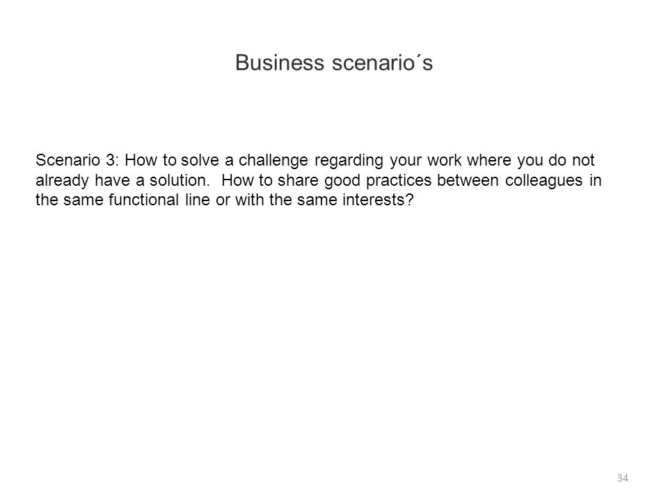 Scenario 3: How to solve a challenge regarding your work where you do not already have a solution.