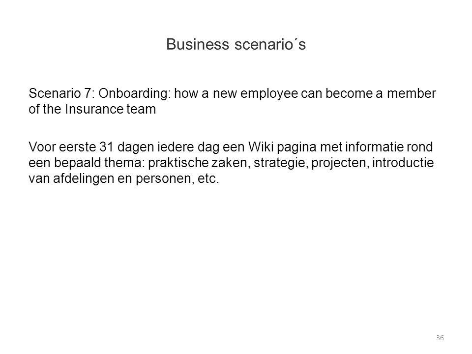 Business scenario´s Scenario 7: Onboarding: how a new employee can become a member of the Insurance team Voor eerste 31 dagen iedere dag een Wiki pagi