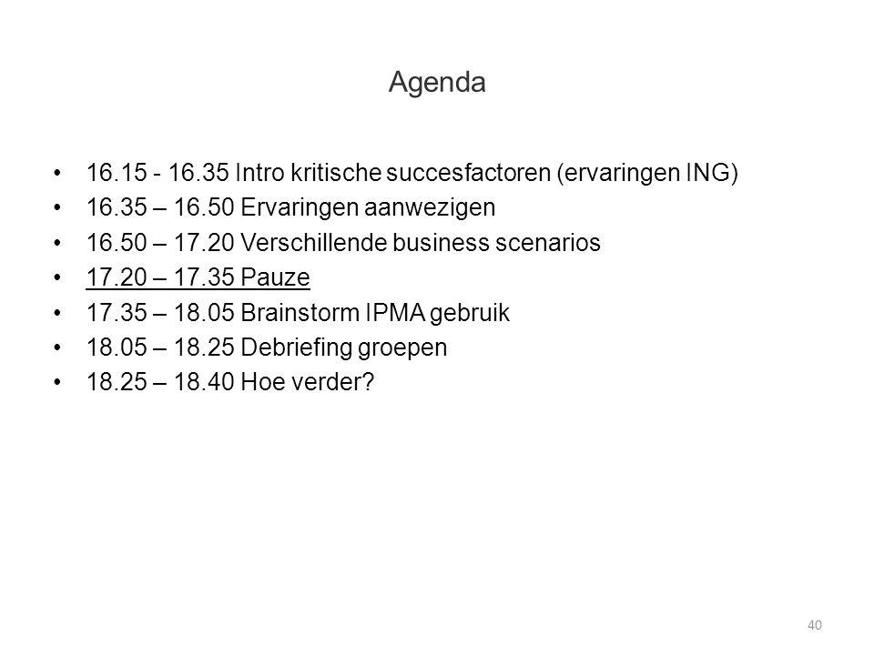 Agenda 16.15 - 16.35 Intro kritische succesfactoren (ervaringen ING) 16.35 – 16.50 Ervaringen aanwezigen 16.50 – 17.20 Verschillende business scenarios 17.20 – 17.35 Pauze 17.35 – 18.05 Brainstorm IPMA gebruik 18.05 – 18.25 Debriefing groepen 18.25 – 18.40 Hoe verder.