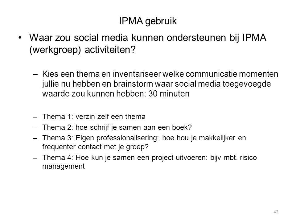 IPMA gebruik Waar zou social media kunnen ondersteunen bij IPMA (werkgroep) activiteiten.