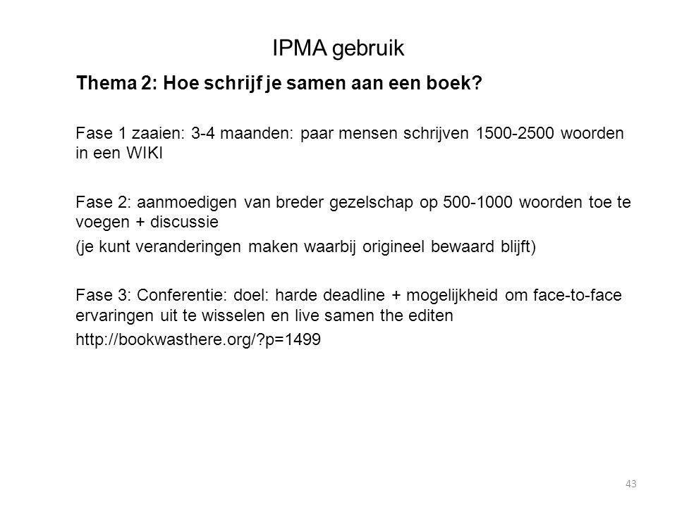 IPMA gebruik Thema 2: Hoe schrijf je samen aan een boek.