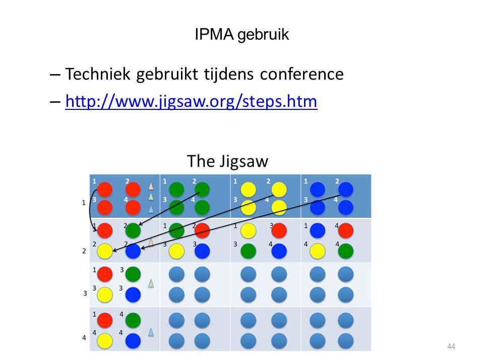 IPMA gebruik – Techniek gebruikt tijdens conference – http://www.jigsaw.org/steps.htm http://www.jigsaw.org/steps.htm 44