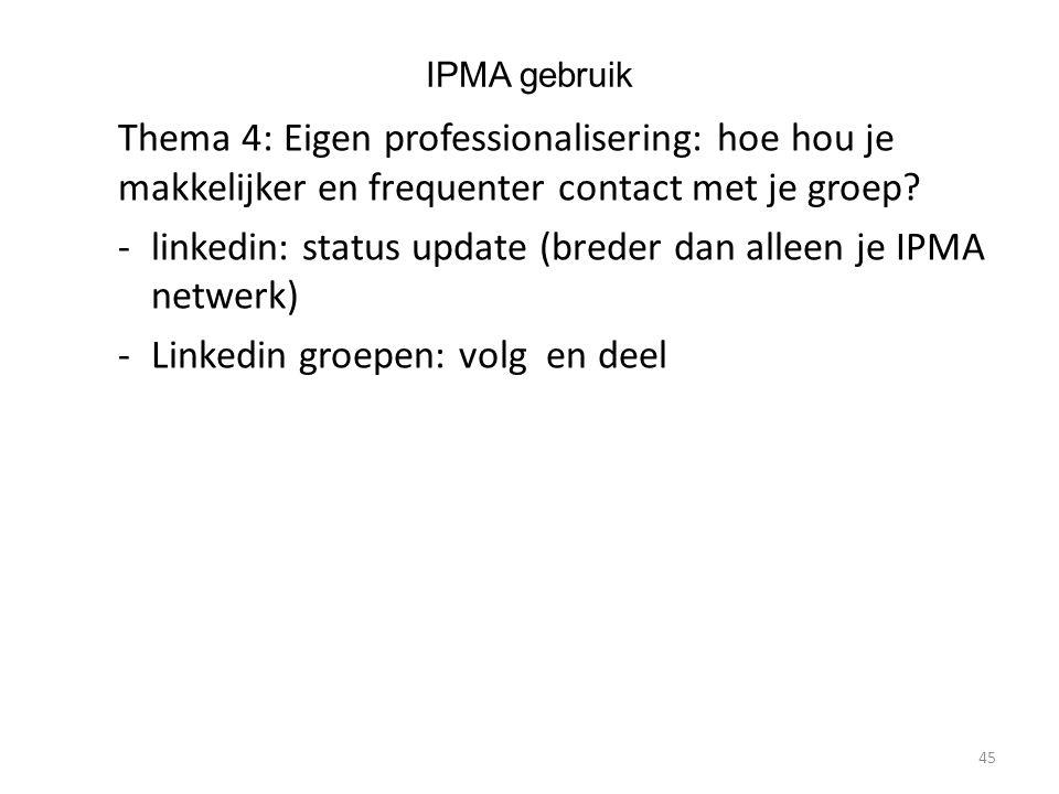 IPMA gebruik Thema 4: Eigen professionalisering: hoe hou je makkelijker en frequenter contact met je groep.
