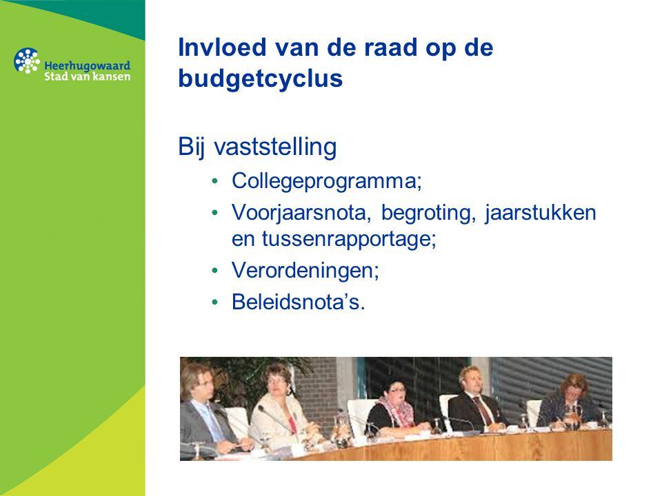Invloed van de raad op de budgetcyclus Bij vaststelling Collegeprogramma; Voorjaarsnota, begroting, jaarstukken en tussenrapportage; Verordeningen; Be