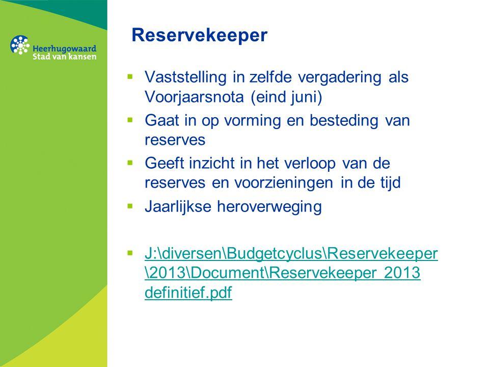 Reservekeeper  Vaststelling in zelfde vergadering als Voorjaarsnota (eind juni)  Gaat in op vorming en besteding van reserves  Geeft inzicht in het
