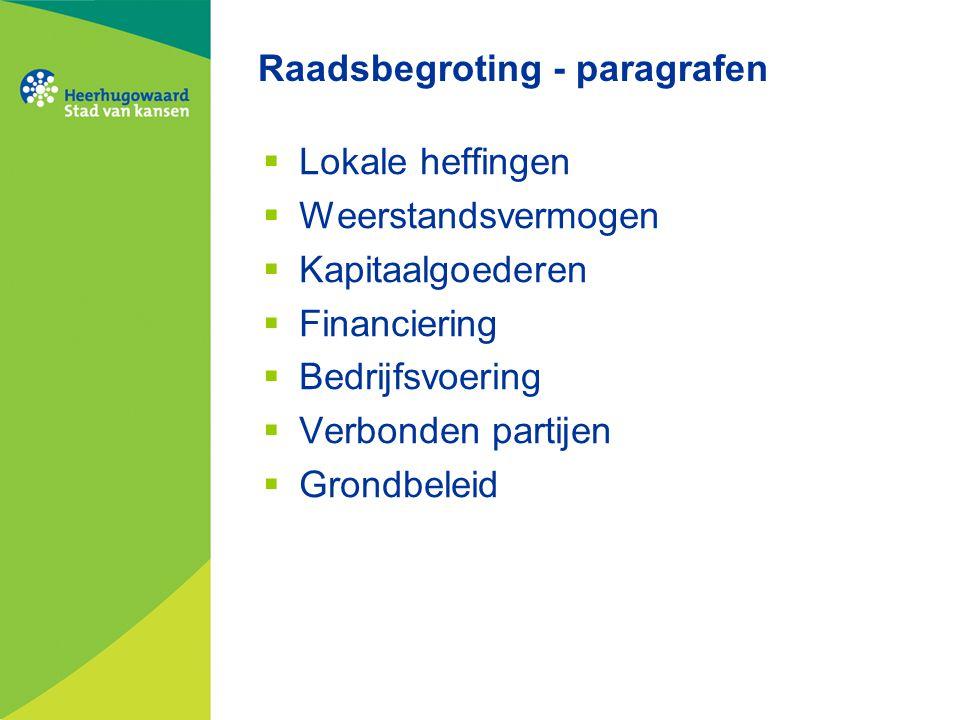 Raadsbegroting - paragrafen  Lokale heffingen  Weerstandsvermogen  Kapitaalgoederen  Financiering  Bedrijfsvoering  Verbonden partijen  Grondbe