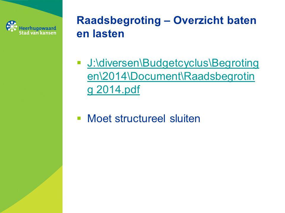 Raadsbegroting – Overzicht baten en lasten  J:\diversen\Budgetcyclus\Begroting en\2014\Document\Raadsbegrotin g 2014.pdf J:\diversen\Budgetcyclus\Beg