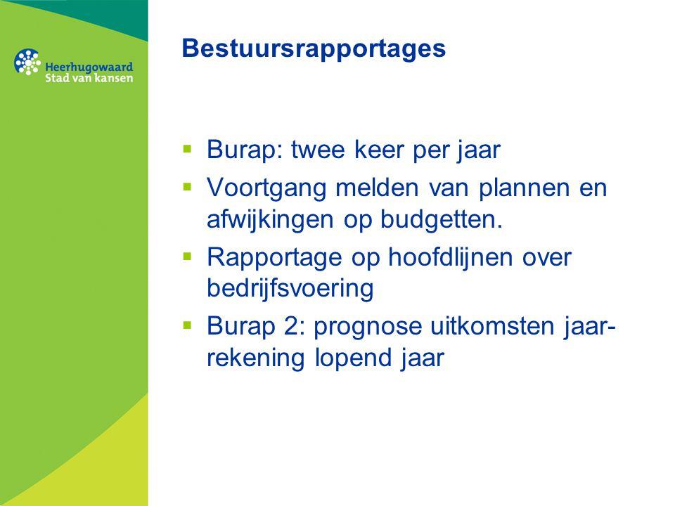 Bestuursrapportages  Burap: twee keer per jaar  Voortgang melden van plannen en afwijkingen op budgetten.  Rapportage op hoofdlijnen over bedrijfsv