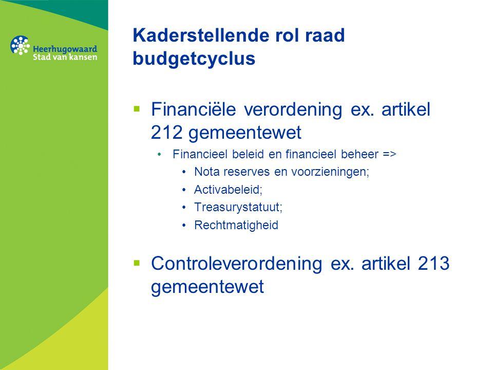 Kaderstellende rol raad budgetcyclus  Financiële verordening ex. artikel 212 gemeentewet Financieel beleid en financieel beheer => Nota reserves en v