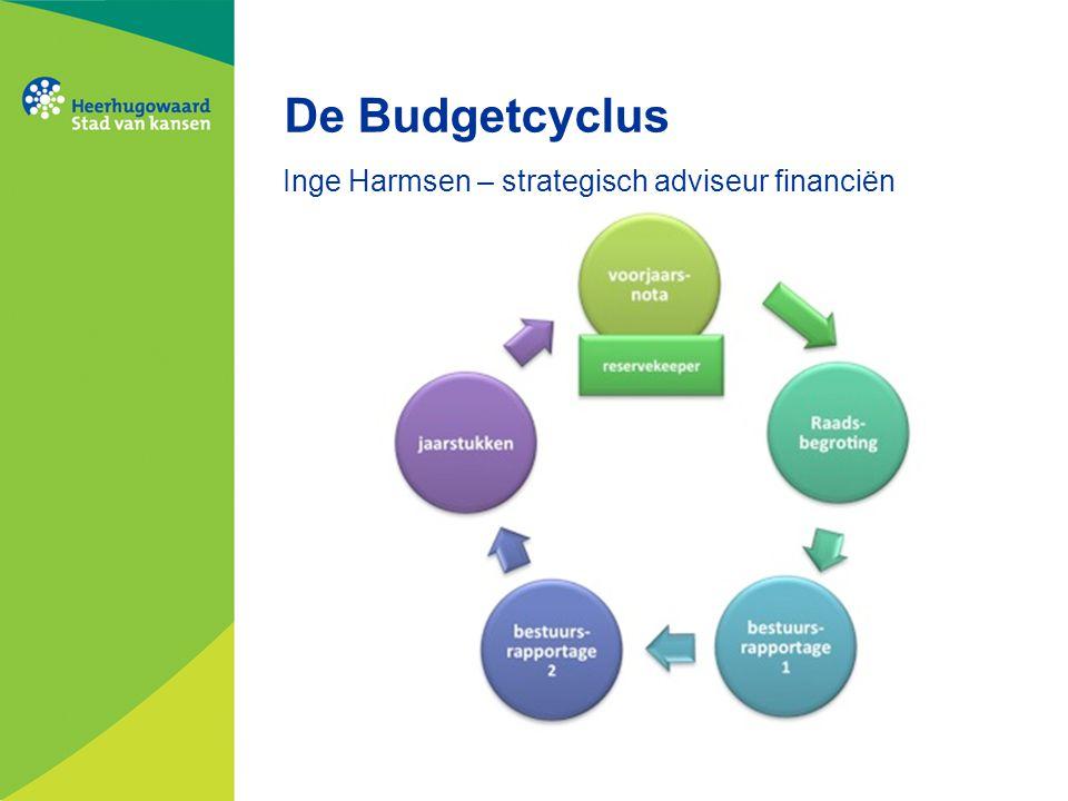 De Budgetcyclus Inge Harmsen – strategisch adviseur financiën
