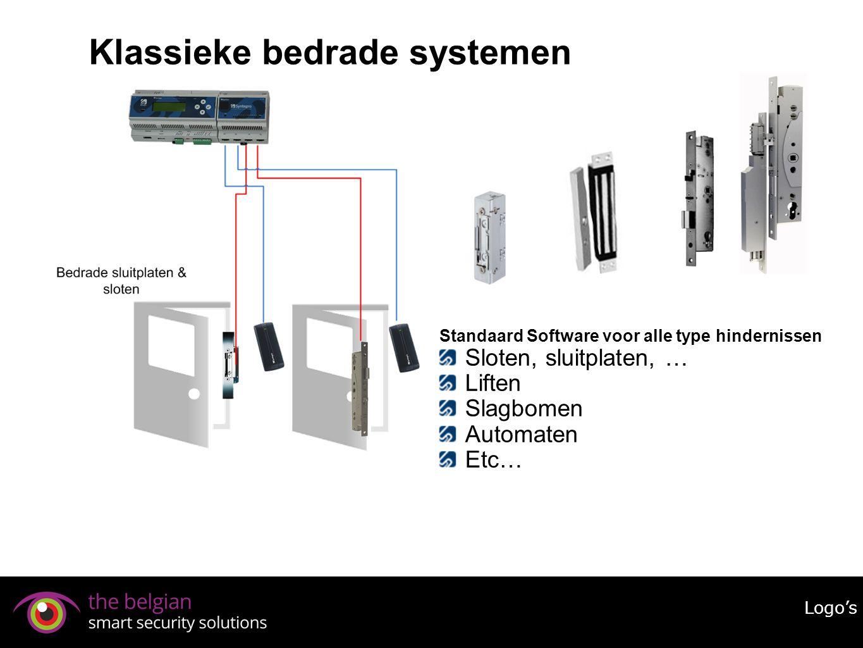 Klassieke bedrade systemen Logo's Standaard Software voor alle type hindernissen Sloten, sluitplaten, … Liften Slagbomen Automaten Etc…